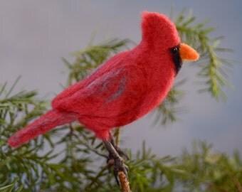 Cardinal wool felted handmade bird