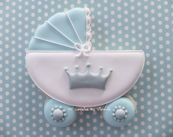 Baby Prince Carriage Cookie , -  12 Cookies - ,  Baby Shower Cookies Favors