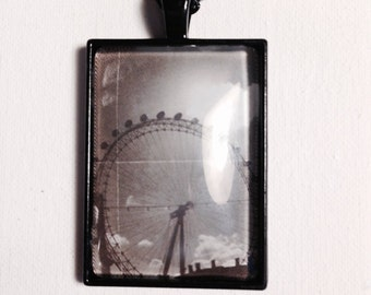 Black and White Ferris Wheel Carnival Rectangle Pendant Necklace