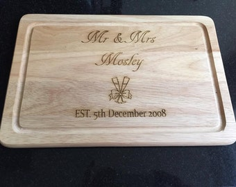 Wooden laser engraved personalised chopping board serving board Wedding couple, Anniversary, Engagement gift