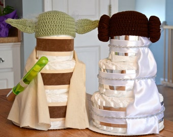 Star Wars Themed Baby Shower Centerpieces or Decorations, Set of 2, Star Wars Diaper Cakes