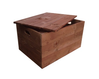 Rustic Wooden Crate Box With Lid (Vintage Style)