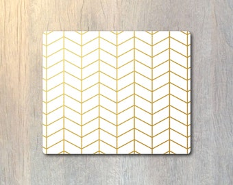 Real Gold Foil Herringbone Pattern Mouse Pad - Custom Personalized - Computer or Office Work Station Decor