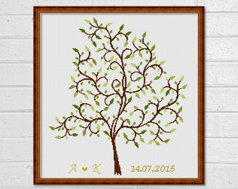 Cross stitch pattern - Scheme for cross stitch - Personalized - Wedding Tree - Guestbook - INSTANT DOWNLOAD - PDF