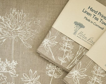 Hand Printed Linen Tea Towel, Tea Cloth, Glass Cloth from our Garden Collection