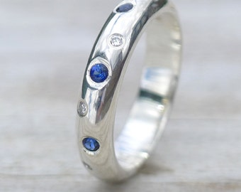 Blue Sapphire and Diamond Ring - Eco Sterling Silver - Handmade to Size