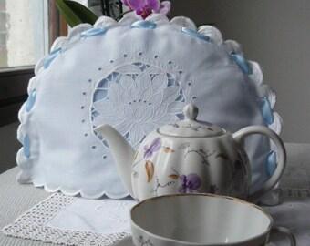 Antique, vintage, hand embroidered, linen, tea cozy, tea cosy, lotus