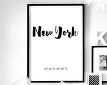 New York Coordinates. New York wall art. New York City. New York poster. Scandinavian art. Minimal art. New York Calligraphy