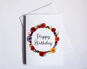 Happy Birthday - Birthday Card - Floral Greetings Card