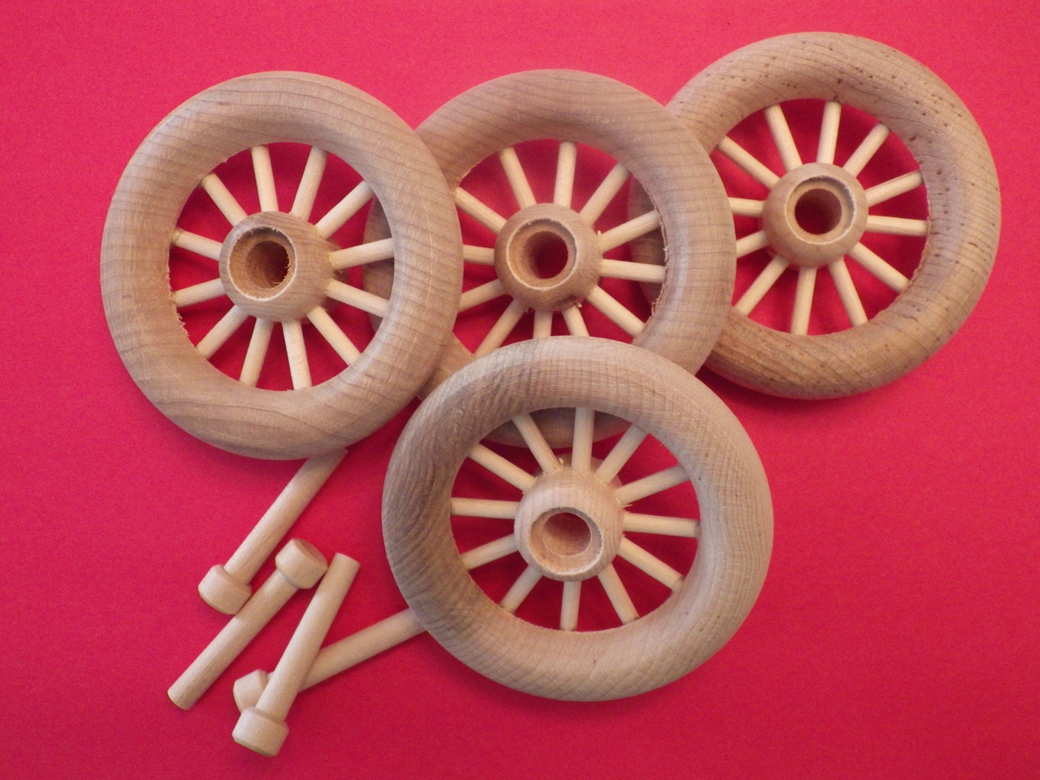 4 Wood Spoke Toy Wheels with Axle Peg