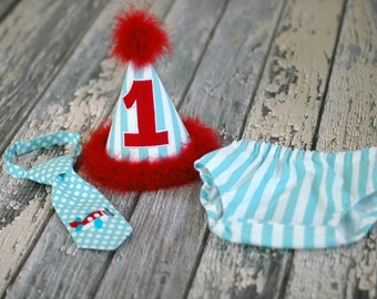 Little Red Airplane Cake Smash Outfit - Little Guy Tie, Diaper Cover, Hat - Red Aqua Stripes Dots Airplane Birthday Party Cake Smash Outfit