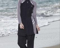 Adabkini Lavin Islamic Swimwear, Burkini, Covered Swimsuit, Modest Style, Multi Color