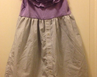 CLEARANCE Girls size 3t dress made from upcycled mens dress shirt