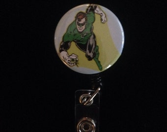 Green Lantern -Nurse Retractable ID Badge Reel/ RN Badge Holder/Doctor Badge Reel/Nurse Badge Holder/Student Nurse badge reel/ nursing gift/
