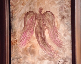 "Angel Painting Acrylic 11""x14"" canvas panel ,ready for framing"