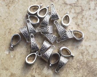 20 Textured Antique Silver Pendant Hangers- H100- 20 Lead and Nickle free Zinc Metal Alloy Pendant Hangers