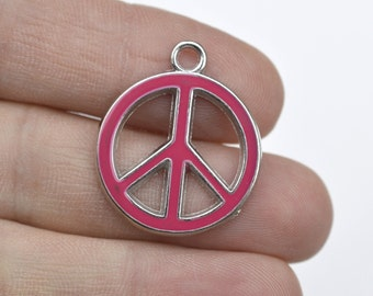 8 Peace Sign Dark Pink Enameled Charms ENCH 105DP - Zinc Alloy Enameled Pendants-Peace Sign Zinc Alloy Silver Enameled Necklace Pendants