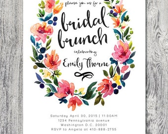 Bridal shower brunch watercolor wreath invitation DIGITAL FILE customizable