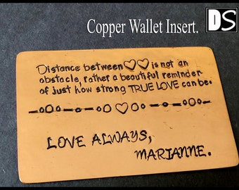 Copper wallet Insert, Hand Stamped 7th Anniversary Wallet Card for Husband