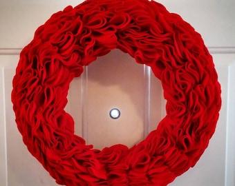 Red Felt Ruffle Wreath 15 inches