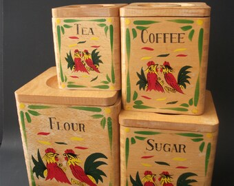 Set of 4 wooden canisters made in Japan - 1950's - Kitchen Canisters - Wood
