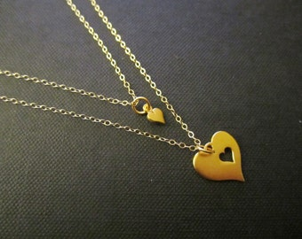 Mother and Daughter jewelry,Heart cutout charm necklace,Gold,Gift for Mom,Newborn Gift,Push Gift