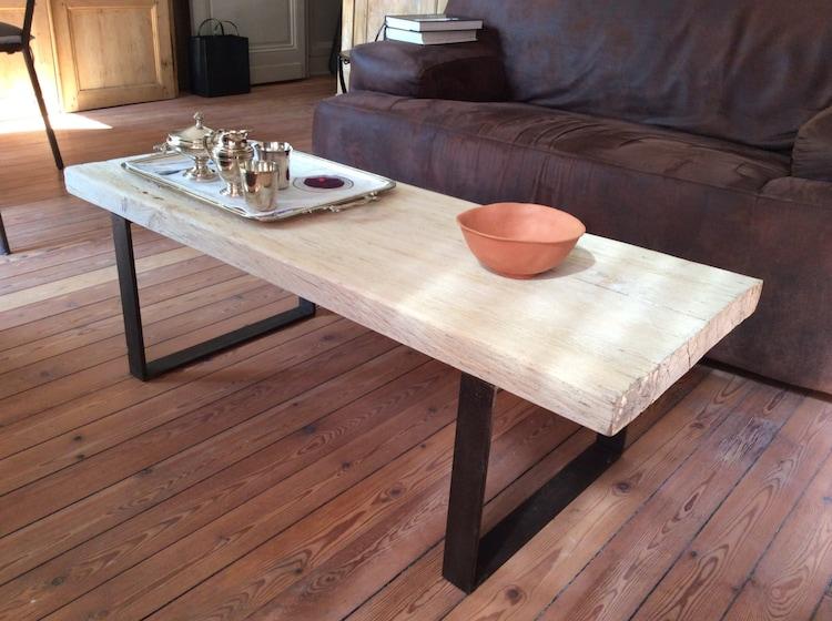 Pieds de table basse en fer plat hauteur 30 ou 35 cms par