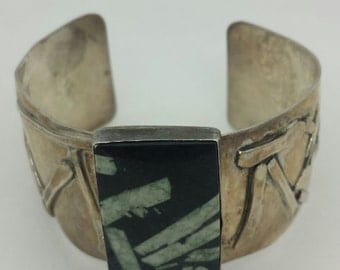 Vintage Signed Sterling Wide Cuff Bracelet  signed by W.P. Siegler
