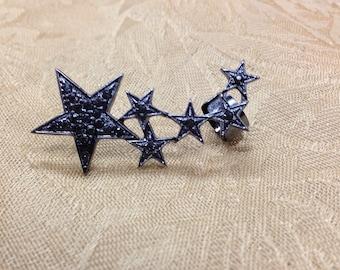 Halloween Rock & Roll Party cuff earrings black stars on gunmetal