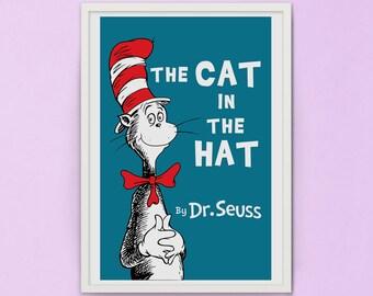 Cat in the hat book cover - dr seuss - children book - kids book cover prints