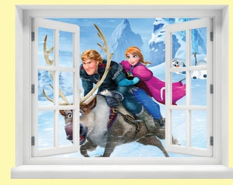 Window with a View Frozen Scene Wall Mural