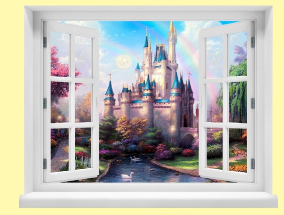 Window with a view disney fairytale castle wall by hughesprint for Castle window mural