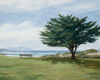 Beach greeting card, Marina Park, the tree, from original oil painting by Tina O'Brien