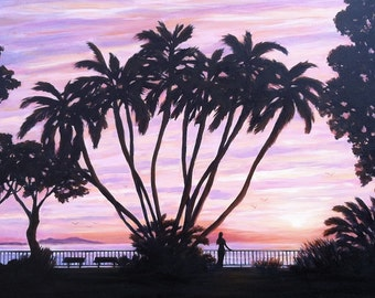 Beach greeting card, Palm at 'C' Street from a original painting by Tina O'Brien