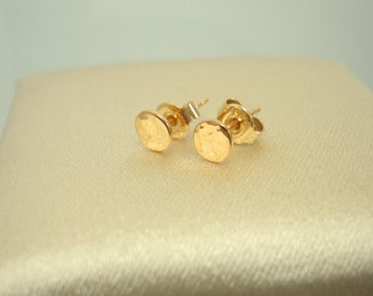 Gold Plated Silver Earrings Stud Hand Made Diameter 5 mm