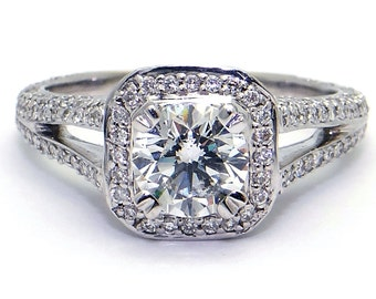 18k White Gold 1.01ct Round Cut Diamond Halo Engagement Ring 2cts Total Size 7.5