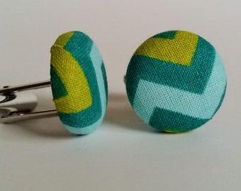 Green & Blue Zig Zag cuff links