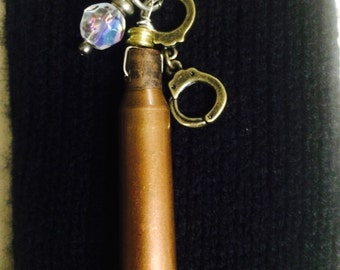 """Upcycled Bullet Casing Pendant on 30"""" Ball Chain Necklace"""
