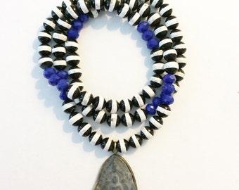 Buddha w Black and White striped Beads w Blue