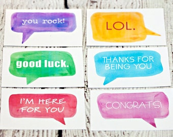 Set of 12 lunchbox cards, callout style 2, callout cards, little notes, note cards, paper goods