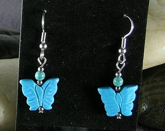 SALE - Turquoise Butterfly Earrings - Native American