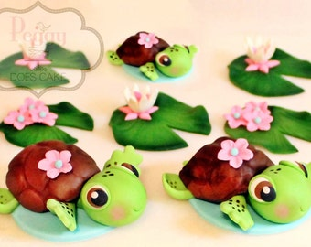 Fondant Turtle Cupcake Toppers