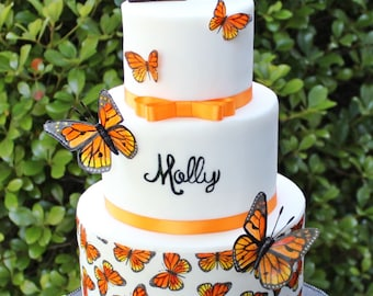 Hand-painted Wafer Paper Monarch Butterflies (Set of 5)