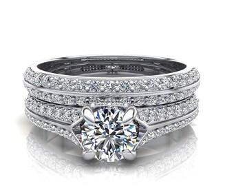 14K Gorgeous Diamond Bridal Engagement Ring Set