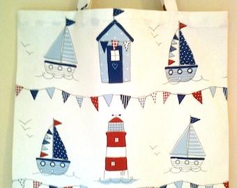 Nautical tote bag Nautical shopping bag Cotton tote bag Nautical cotton bag Maritime Tote bag White tote