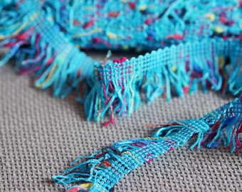 "Turquoise  Fringe 1.0"" (2.00cm) Imported from France"