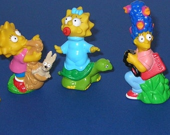 Vintage Burger King  Set of 5 1990 Simpsons Kid's Club Premiums Toys
