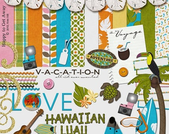"Tropical Digital Scrapbook Kit - ""Happy to Get Away"" digital papers and elements with toucan, palm tree, surf board and hawaiian scrapbooks"