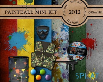 """Digital Scrapbook MINI Kit - """"Paintball"""" digiscrap kit with paint gun, paint ball, mask and barrel in primary colors for scrapbook layouts"""