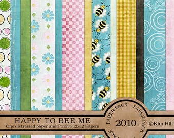 """Digital Scrapbook Papers - """"Happy to Bee Me"""" with bumble bees and flowers to create digital scrapbook layouts in blue, pink, gold and green"""